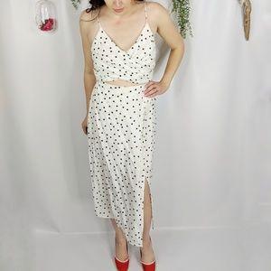 LUSH NORDSTROM polka dot cutout midi dress